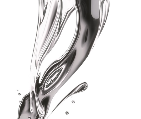 silver alloy: metal splashing, ripples and waves on a white background