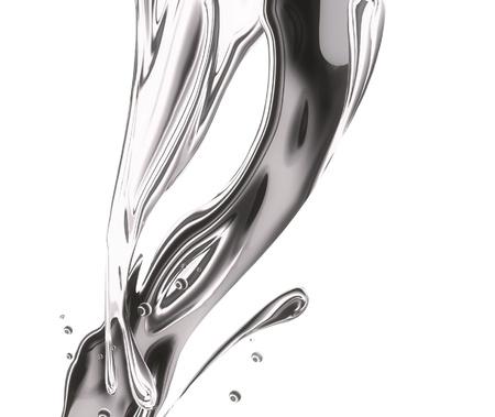 liquid metal: spruzzi di metallo, increspature e onde su sfondo bianco