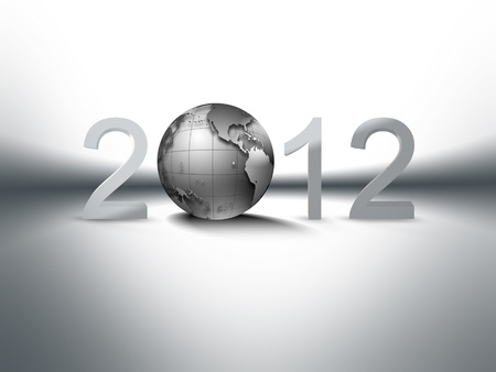 christmas background with metallic planet and 2012 on white Stock Photo - 10744345
