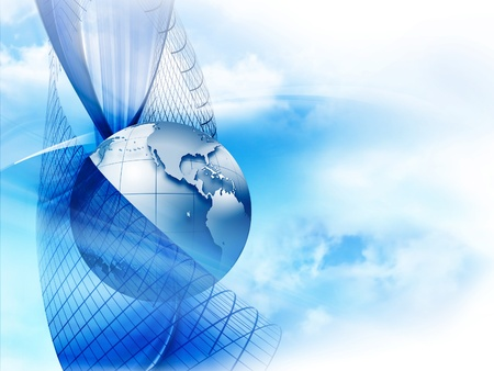 the americas: modern business background with the planet on a blue background Stock Photo