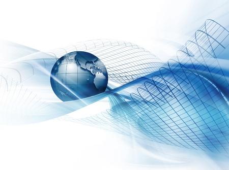 通訊: 現代商業背景與藍色背景上的地球