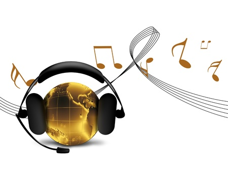 golden world listens to music on headphones - hit concept  Stock Photo - 10744346