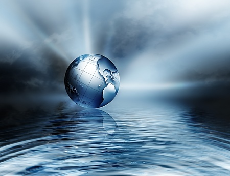 environmental damage: earth above the water - symbol of environmental protection