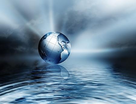 conservacion del agua: tierra sobre el agua - símbolo de la protección del medio ambiente