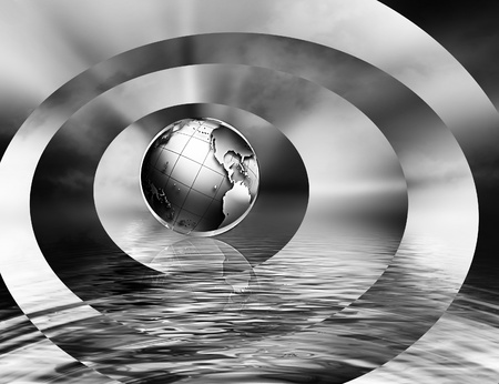 abstract monochrome business background with the planet  photo