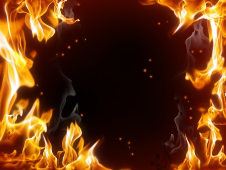 yellow photo: A frame of burning fire with sparks against the dark background