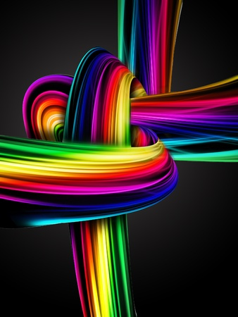 abstract rainbow knot on a dark background Stock Photo - 10919990