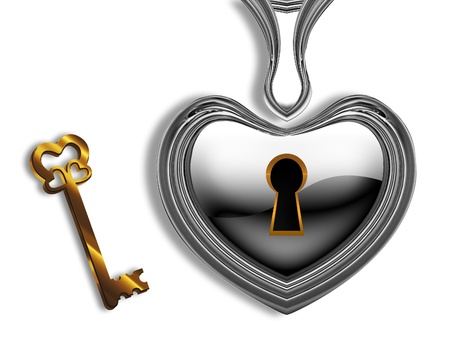 gold keyhole: silver heart with a keyhole and a gold key on a white background Stock Photo