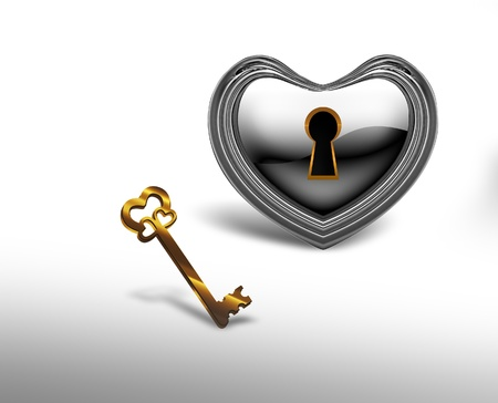 silver heart with a keyhole and a gold key on a white background photo
