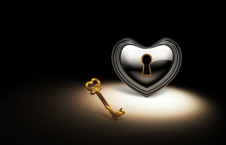 silver heart with a keyhole and a gold key on a dark background Stock Photo - 10919995