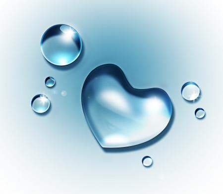 corazones azules: gota de agua tiene forma de coraz�n sobre un fondo claro