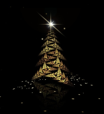 Gold fractal Christmas tree on black background photo