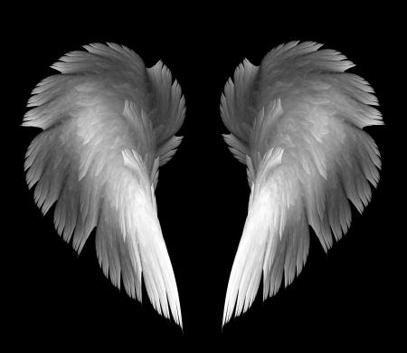 ange gardien: des ailes d'ange de lumière sur un fond noir Banque d'images