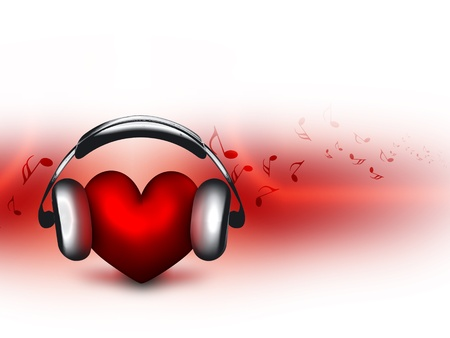 music abstract: heart with headphones - the concept of a music lover Stock Photo