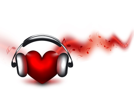 heart with headphones - the concept of a music lover Stok Fotoğraf