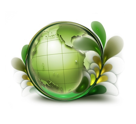 green earth with leaves on white background photo