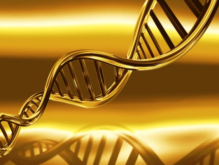 dna structure: golden DNA strands on abstract medical background