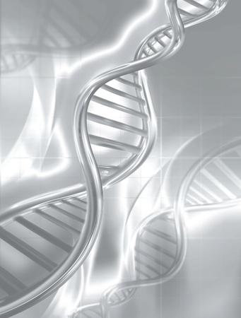 adn humano: plata cadenas de ADN en el fondo abstracto médica