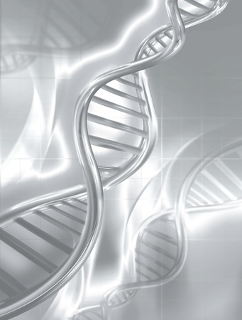 double helix: silver DNA strands on abstract medical background