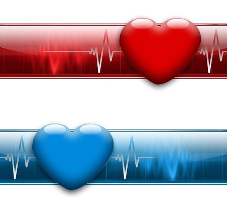 battement du coeur: banni�re graphique �lectrocardiogramme - variantes de couleurs bleu et rouge