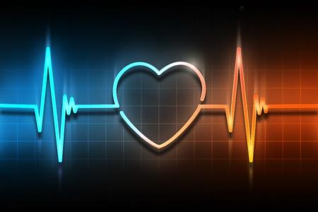 cardioid: l�nea del pulso con el s�mbolo del coraz�n Foto de archivo