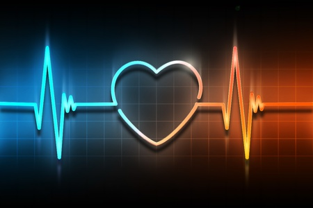 heartbeat: line of the pulse with the symbol of the heart
