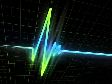 pulse trace: neon electrocardiogram graph on a dark background