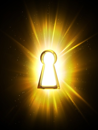 safe lock: light from the keyhole on a black background Stock Photo