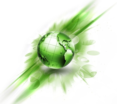 green energy: abstract image concept environmental with a green planet
