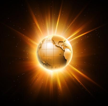 sunlight earth: bright shining world on a dark background Stock Photo