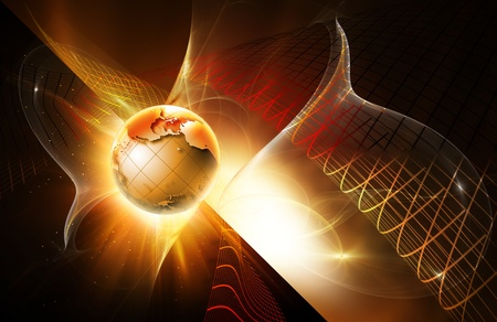 design with web elements and a shining globe on dark background Stock Photo - 11806401