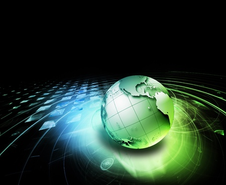 abstract technology background with the planet on a dark backdrop Stock Photo - 11883873