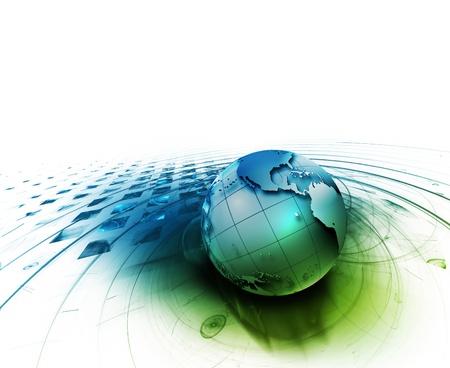 planeta verde: la tecnolog�a de fondo abstracto con el planeta sobre un fondo blanco