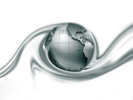 gray world in a wave on a white background Stock Photo - 11976418