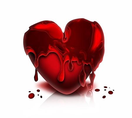 red bloody heart on a white background photo