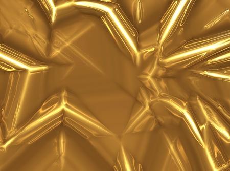 feuille froiss�e: drap froiss� de l'or close-up - un fond abstrait industrielle