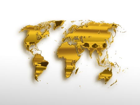golden world map on a light background Stock Photo - 12426265