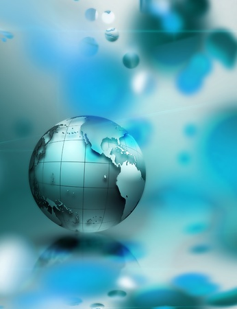 bluish: abstract technology background with an blue planet Stock Photo