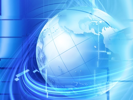 modern business background with the planet on a blue background photo