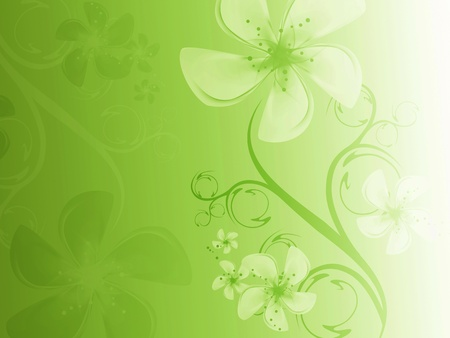 hues: Beautiful floral background to green hues