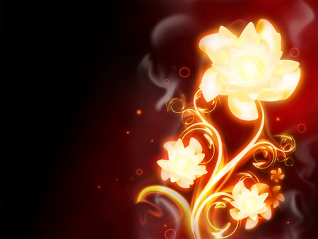 excellent fire flower on red background photo
