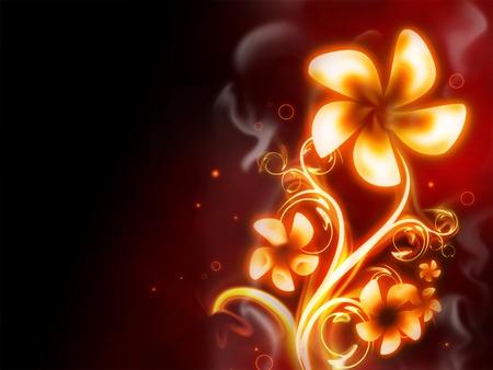 flor de fuego excelente sobre fondo rojo photo