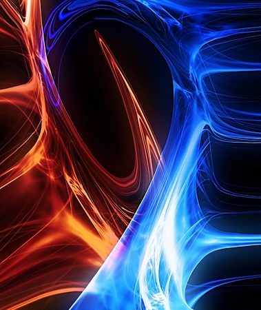 hot and cold: red and blue glow in the dark background