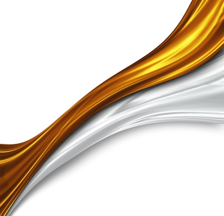 gold and silver waves design - beautiful modern background Stock Photo - 13189418