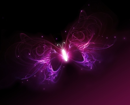 glowing purple butterfly on a dark background Stock Photo