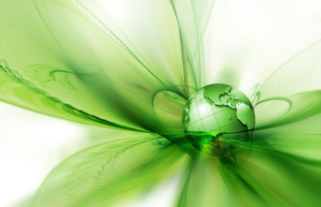 abstract image concept environmental with a green planet photo