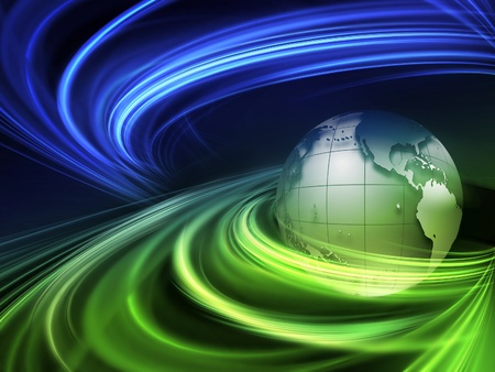 planet in the rays - abstract technology background Stock Photo - 13414642