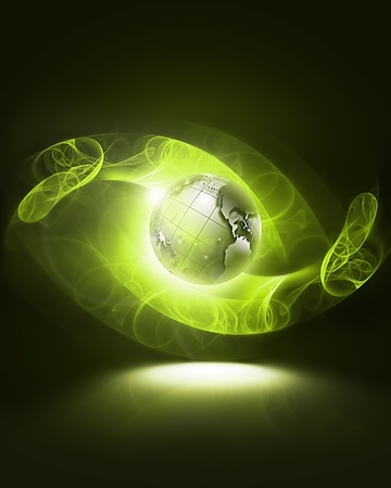 glowing green world on a dark background abstract Stock Photo - 13516395