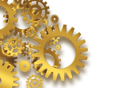 gold gears on a white background - industrial background photo