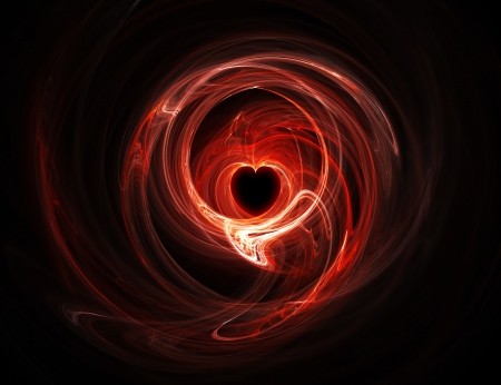 glowing red heart on a dark background photo